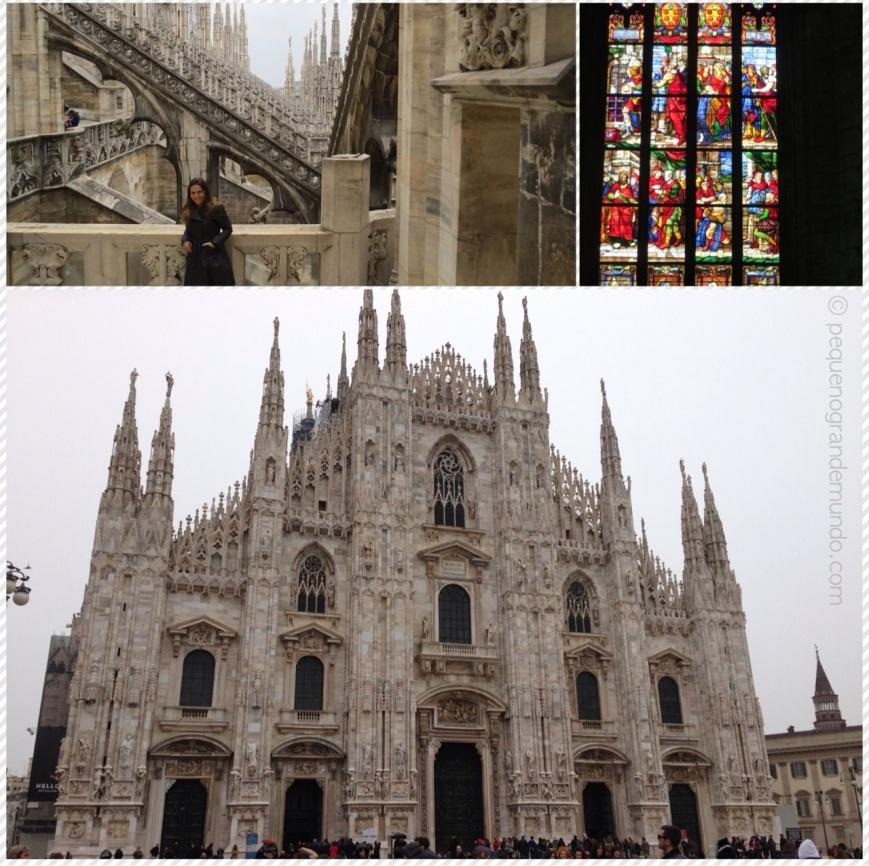 1 - no topo da Duomo / 2 - Vitrais dentro da Igreja / 3 - Duomo vista de frente