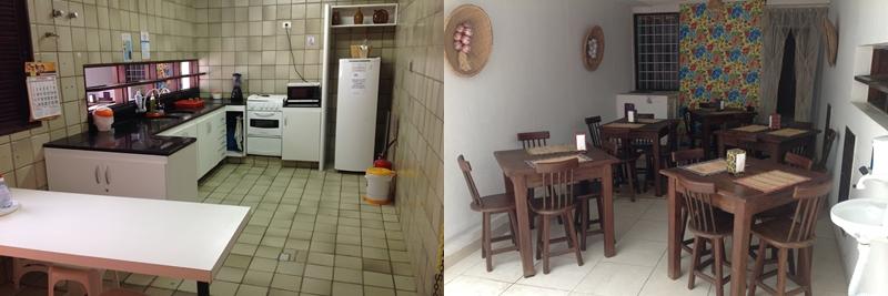 Cozinha e refeitório, fotos do site do albergue