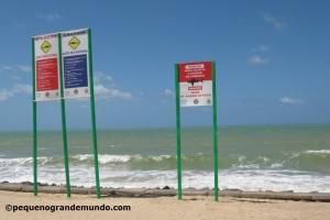 Placas de alerta sobre tubarão em Boa Viagem