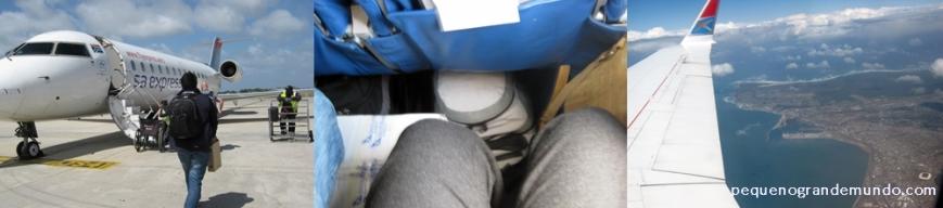 Avião pequeno, bagagem nos pés (conforto!!!), mas linda vista!