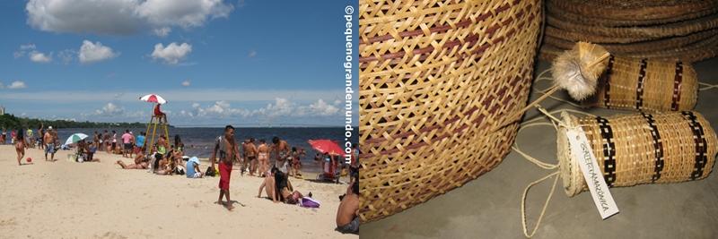 Praia de Ponta Negra e Ponte estaiada ao fundo, que liga Manaus a Manacapuru. Artesanato indígena da Galeria Amazônica.