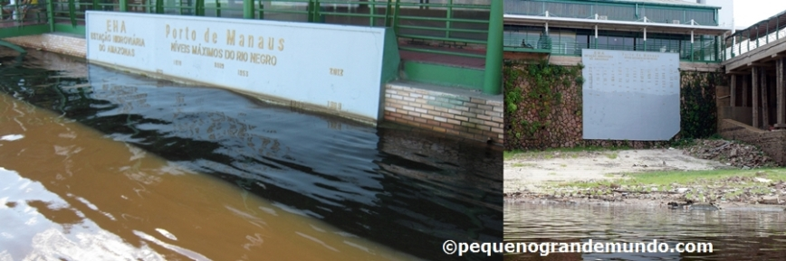Rio Negro na cheia e na seca: chega a subir 30m! Pensando que tem até 50Km de largura em seu ponto mais largo, haja água!