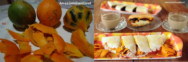 Tucumã (frutos e lascas usadas nos pratos) e lanche típico manauara: tapioca e x-caboclinho