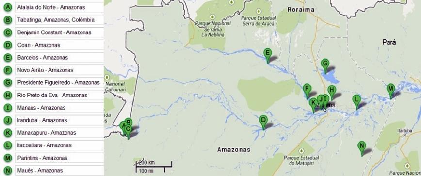 Mapa do Amazonas com os principais municípios, onde ocorrem os eventos