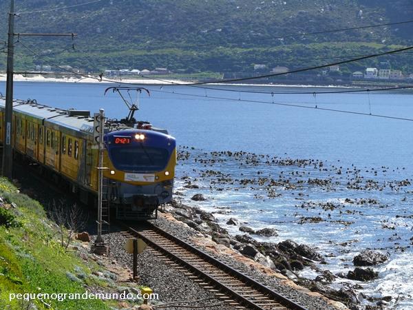 Linha de trem a beira-mar em Fish Hoek