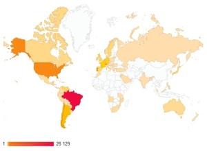 Visualizações do blog PGM por país em 1 ano