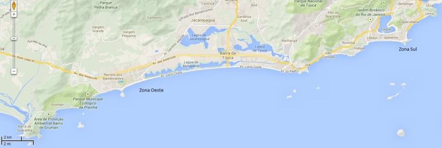 Praias da cidade do Rio de Janeiro. Adaptado de Google Maps
