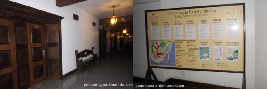 Corredores dos quartos térreos e painel com entretenimento oferecido pelo hotel
