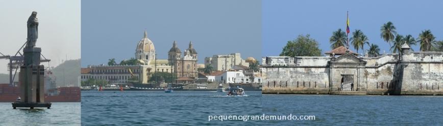Virgen, cidade murada vista da Baía, e forte em Bocacgica, no caminho de barco para Islas Rosario