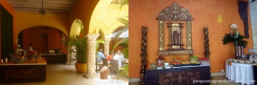 Parte do buffet do café-da-manhã e decoração
