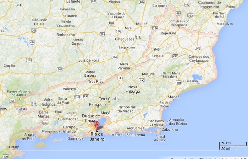 Estado do Rio de Janeiro, adaptado de Google Maps.