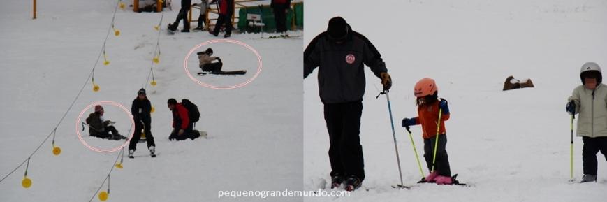 Pior do que eu (lá embaixo) e a Érica (mais acima a esquerda) que caíamos a cada 10 metros de tentativa de esqui, era olhar pralado e ver as mini-crianças conseguindo.  :(