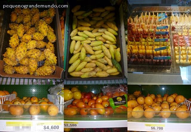 Frutas colombianas: 1ª linha: pitaya, curuba, picolés de várias frutas; 2ª linha: lulo, tome de árbol, e granadilla