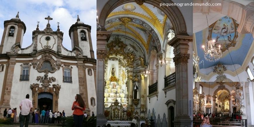 Igreja N. Srª do Carmo em dia de casamento: fachada, interior e detalhe do teto