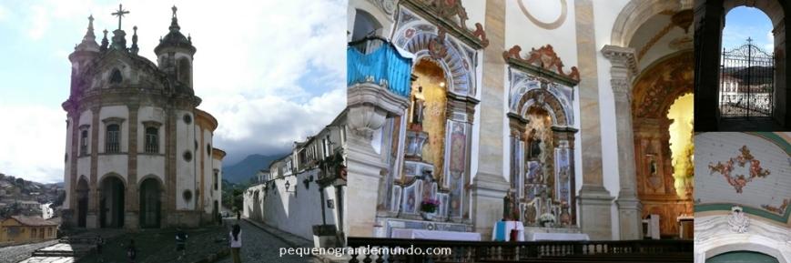 Igreja N. Srª do Rosário: fachada curva, santos negros (sem flash no interior),  portão e detalhe do teto