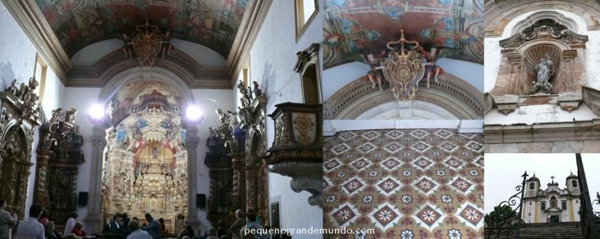 Igreja Santa Efigênia (fotos sem flash, desculpe a qualidade): interior, detalhe do teto e do piso, detalhe da fachada