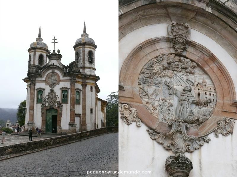 Igreja São Francisco de Assis e detalhe da fachada em pedra-sabão