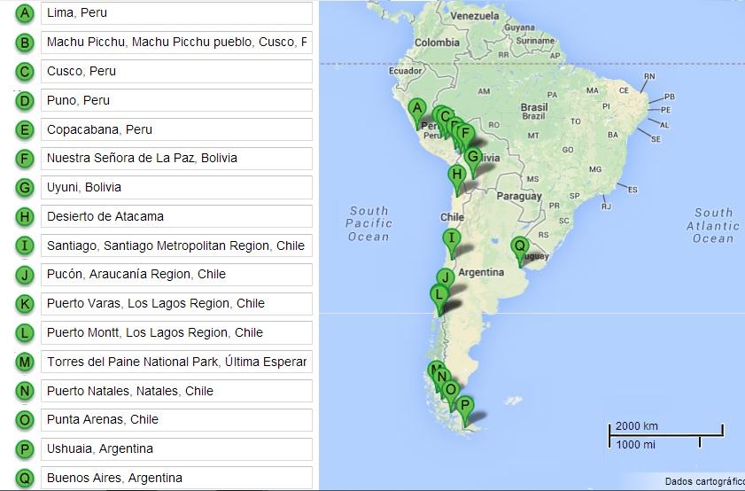 Mapa com roteiro, feito no Google Maps antigo (ainda não troco por nada! rs)