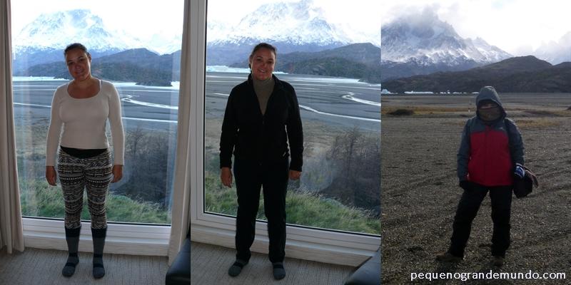 Me vestindo em camadas em Torres del Paine: 1º camisa de manga comprida de algodão, legging forrada e meias térmicas. 2º camisa de lã e gola alta + casaco de fleece e  calça de fleece. 3º casaco impermeável com capuz, calça impermeável e bota de trekking + acessórios (protetor de orelhas, gorro, luvas de fleece + luvas de lã de alpaca, protetor de rosto). E estava com frio!